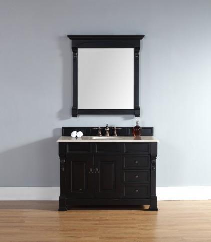 "Brookfield 48"" Antique Black Single Vanity With 2Cm Galala Beige Marble Top"