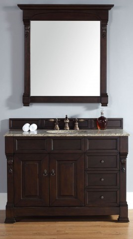 "Brookfield 48"" Burnished Mahogany Single Vanity With 2Cm Santa Cecilia Granite Top"