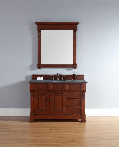 """Brookfield 48"""" Warm Cherry Single Vanity With 2Cm Black Granite Top"""