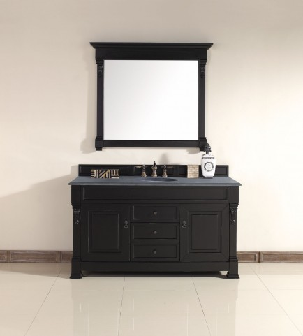 "Brookfield 60"" Antique Black Single Vanity With 2Cm Black Granite Top"
