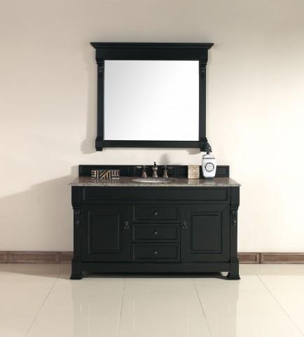 """Brookfield 60"""" Antique Black Single Vanity With 2Cm Santa Cecilia Granite Top"""