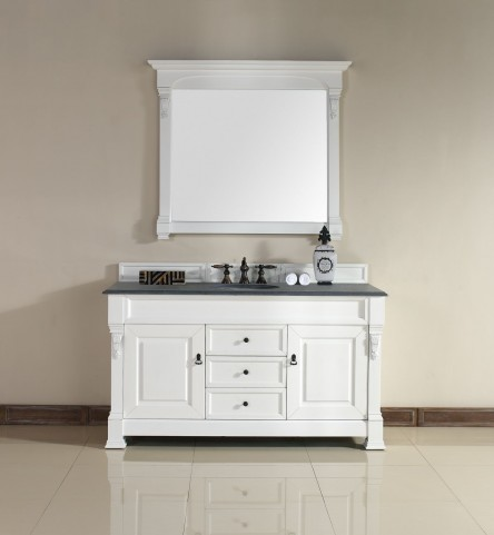 "Brookfield 60"" Cottage White Single 2CM Top Vanity Set"