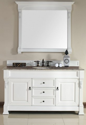 "Brookfield 60"" Cottage White Single Vanity With 2Cm Santa Cecilia Granite Top"
