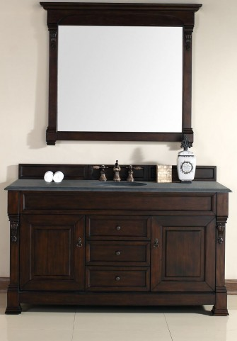 "Brookfield 60"" Burnished Mahogany Single Vanity With 2Cm Black Granite Top"