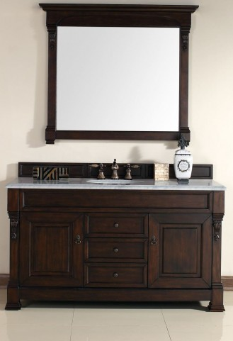 "Brookfield 60"" Burnished Mahogany Single Vanity With 2Cm Carerra White Marble Top"