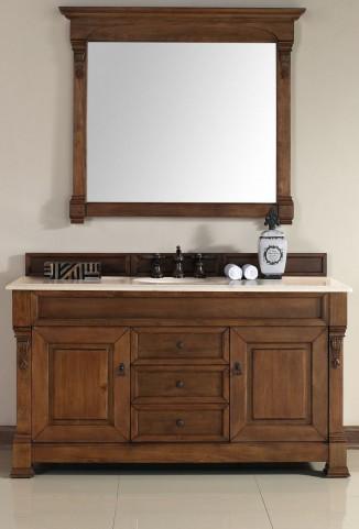 """Brookfield 60"""" Country Oak Single Vanity With 2Cm Galala Beige Marble Top"""