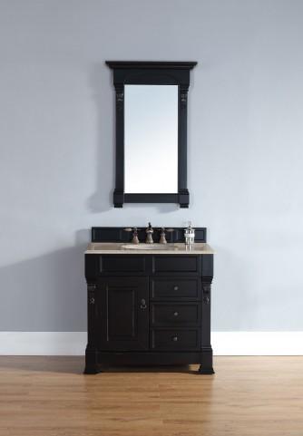 "Brookfield 36"" Antique Black Single Vanity With 2Cm Galala Beige Marble Top"