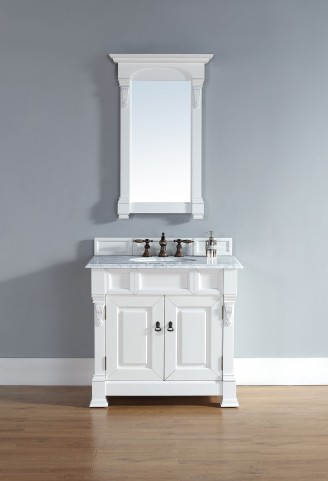 """Brookfield 36"""" Cottage White Single Vanity With 2Cm Carerra White Marble Top"""