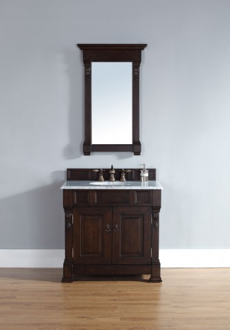 """Brookfield 36"""" Burnished Mahogany Single Vanity With 2Cm Carerra White Marble Top"""