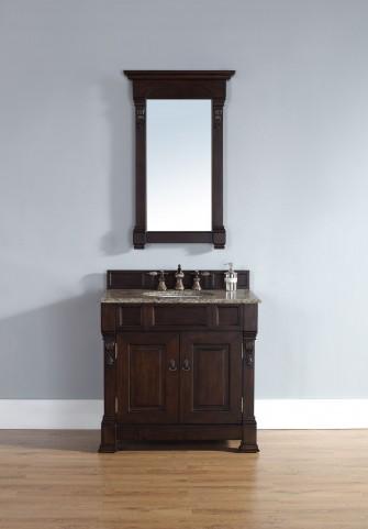 "Brookfield 36"" Burnished Mahogany Single Vanity With 2Cm Santa Cecilia Granite Top"