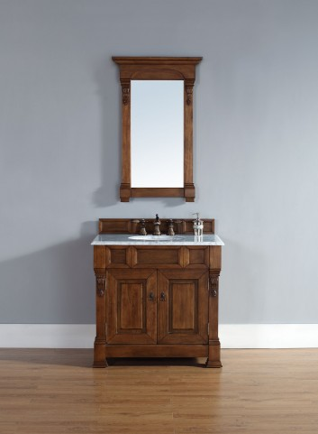"""Brookfield 36"""" Country Oak Single Vanity With 2Cm Carerra White Marble Top"""
