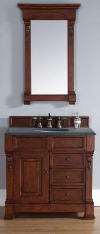 """Brookfield 36"""" Warm Cherry Single Vanity With 2Cm Black Granite Top"""