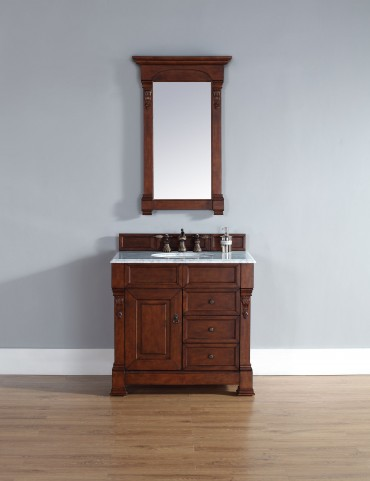 "Brookfield 36"" Warm Cherry Single Vanity With 2Cm Carerra White Marble Top"