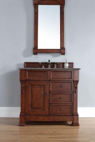 "Brookfield 36"" Warm Cherry Single Vanity With 2Cm Santa Cecilia Granite Top"