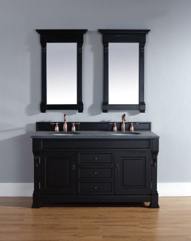 "Brookfield 60"" Antique Black Double Vanity With 2Cm Black Granite Top"