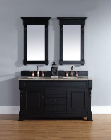 """Brookfield 60"""" Antique Black Double Vanity With 2Cm Santa Cecilia Granite Top"""