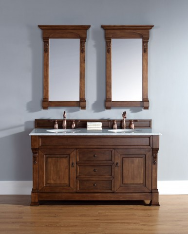 """Brookfield 60"""" Country Oak Double Vanity With 2Cm Galala Beige Marble Top"""