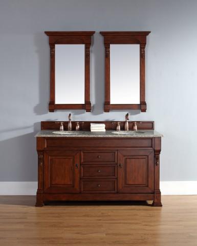 "Brookfield 60"" Warm Cherry Double Vanity With 2Cm Santa Cecilia Granite Top"