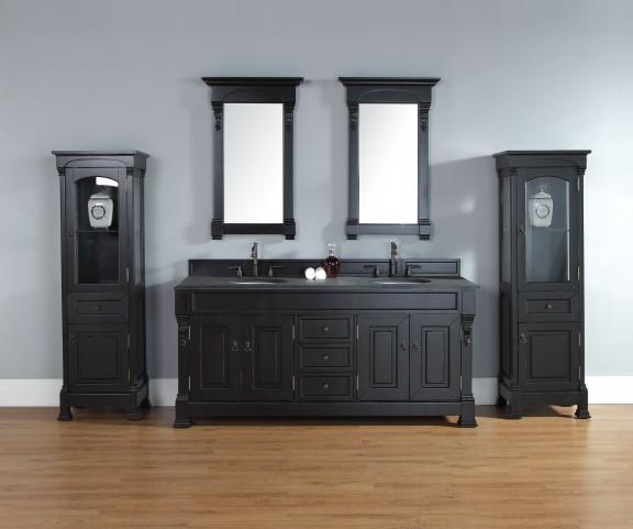 "Brookfield 72"" Antique Black Double 2CM Top Vanity Set"