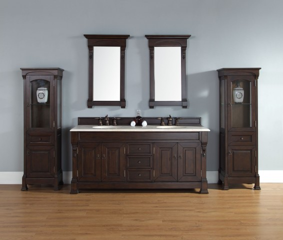 """Brookfield 72"""" Burnished Mahogany Double Vanity With 2Cm Galala Beige Marble Top"""