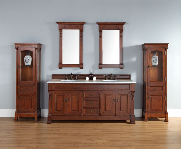 """Brookfield 72"""" Warm Cherry Double Vanity With 2Cm Carerra White Marble Top"""
