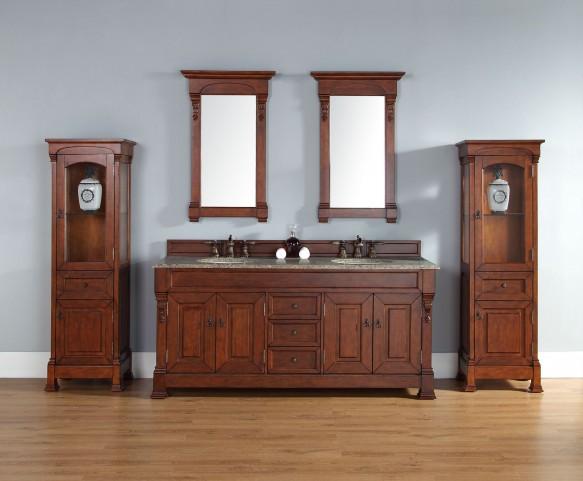 "Brookfield 72"" Warm Cherry Double Vanity With 2Cm Santa Cecilia Granite Top"