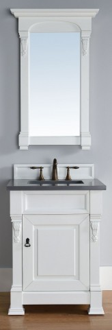 """Brookfield 26"""" Cottage White Single Vanity With 3Cm Shadow Gray Quartz Top"""