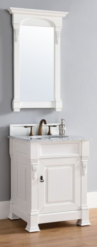 "Brookfield 26"" Cottage White Single Vanity With 2Cm Carerra White Marble Top"