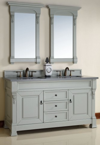 "Brookfield 60"" Urban Gray Double 3CM Top Vanity Set"