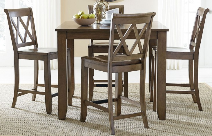 Vintage Weathered Grey Rectangular Counter Height Dining Room Set