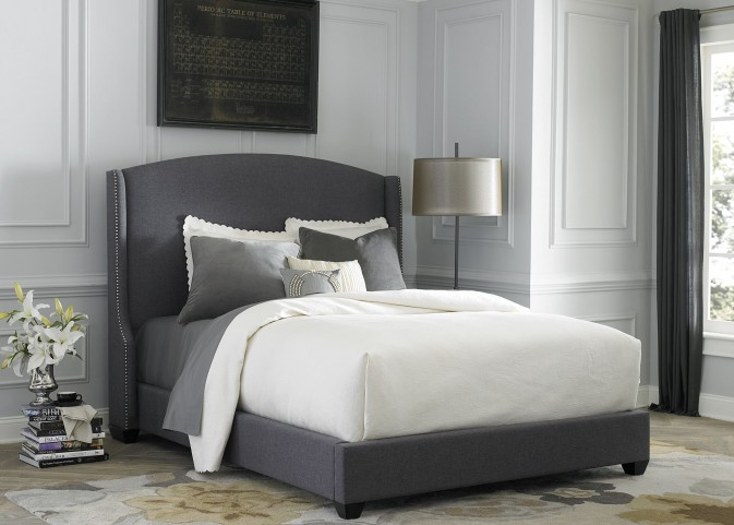Dark Gray Upholstered Queen Shelter Bed