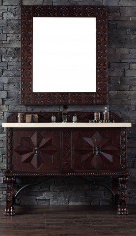 """Balmoral 48"""" Antique Walnut Single Vanity With 4Cm Galala Beige Marble Top"""