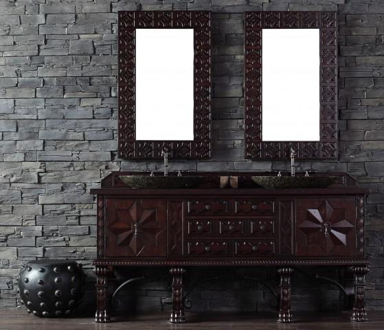 """Balmoral 72"""" Antique Walnut Double Vanity With 4Cm Santa Cecilia Granite Top"""