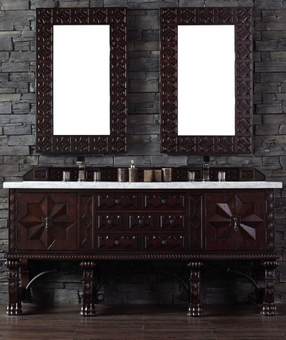 """Balmoral 72"""" Antique Walnut Double Vanity With 4Cm Carerra White Marble Top"""