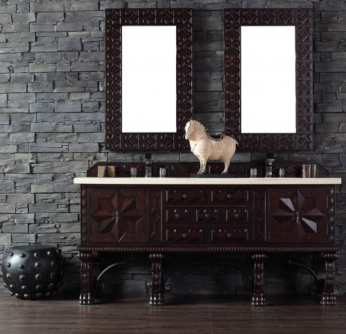 "Balmoral 72"" Antique Walnut Double Vanity With 4Cm Galala Beige Marble Top"