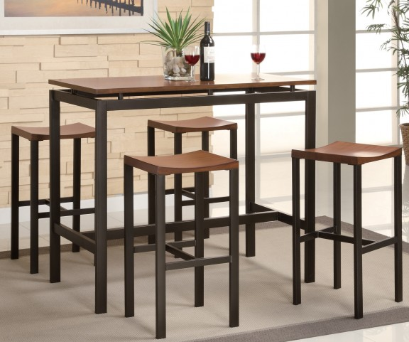 Atlas Black and Gold Metal Counter Height Dinette Set