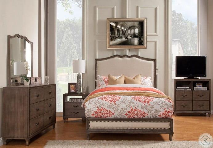 Charleston Grey Upholstered King Panel Bed