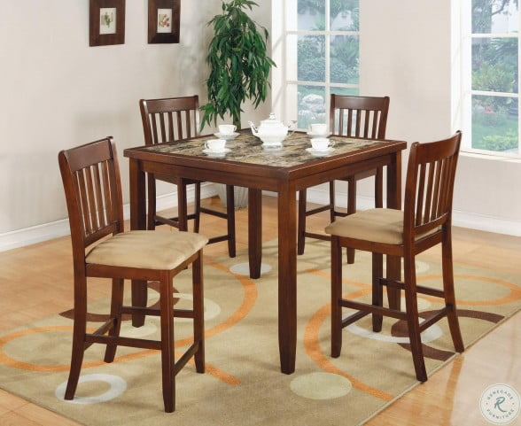 150154 Red Brown 5 Piece Counter Height Dining Room Set From Coaster 150154 Coleman Furniture