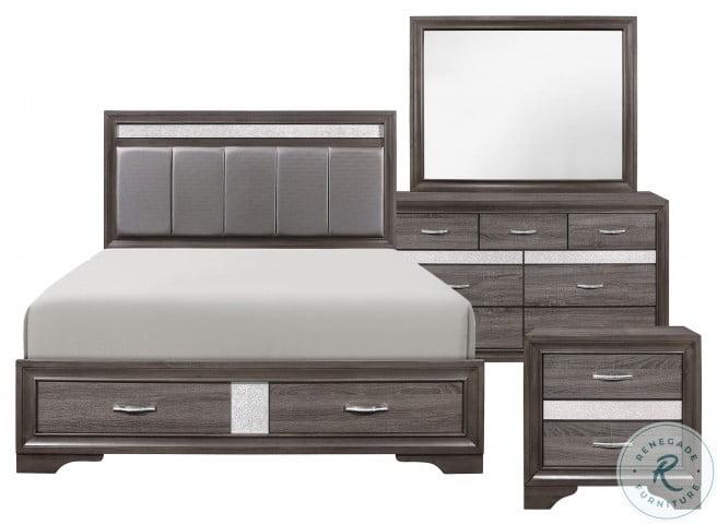 Luster Gray and Silver Glitter Upholstered Storage Platform Bedroom Set