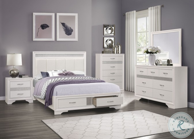 Luster White And Silver Glitter Platform Bedroom Set