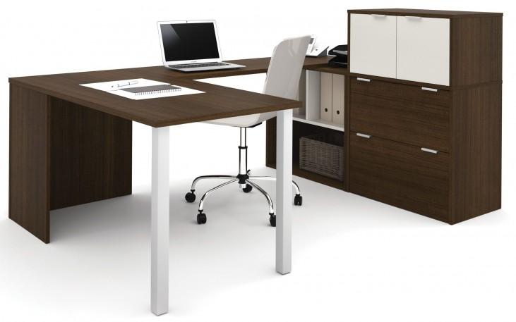 150860-78 i3 Tuxedo and Sandstone U-Shaped desk