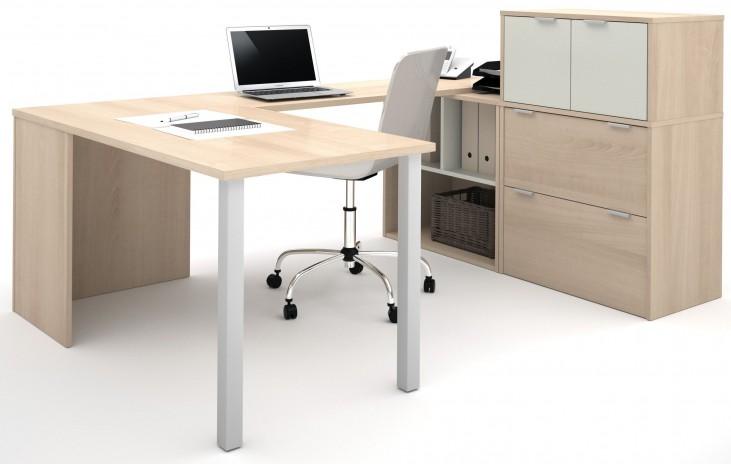 150860-38 i3 Northern Maple and Sandstone U-Shaped Desk
