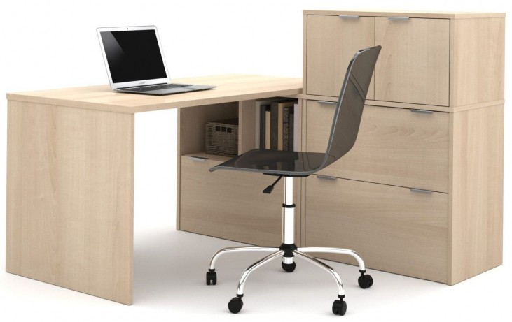 150863-38 i3 Northern Maple L-Shaped desk