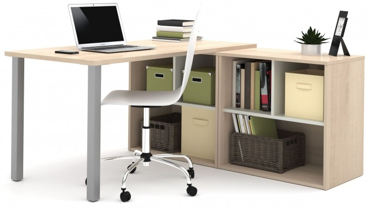 150873-38 i3 Northern Maple and Sandstone L-Shaped Desk