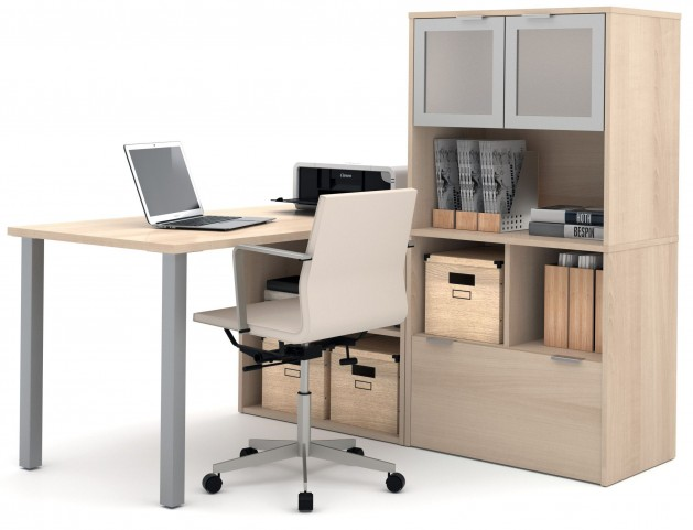 150874-38 i3 Northern Maple L-Shaped Desk