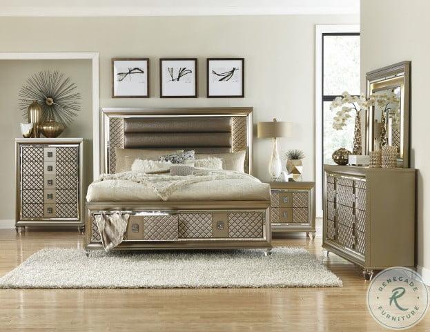 Loudon Champagne Metallic Storage Platform Bedroom Set From Homelegance Coleman Furniture