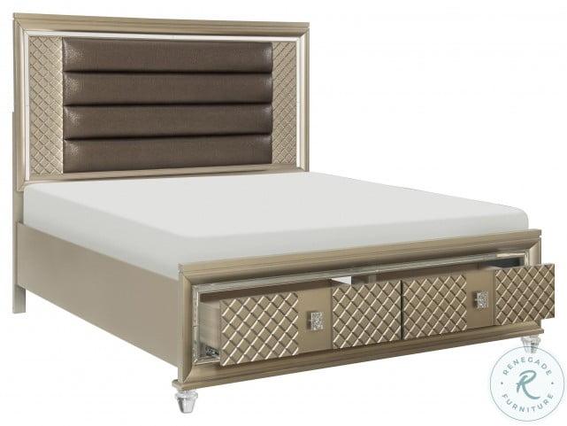 Loudon Champagne Beige Metallic Cal. King Storage Platform Bed