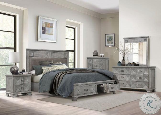 Mayodan Rustic Gray Queen Platform Bed With Footboard Storage