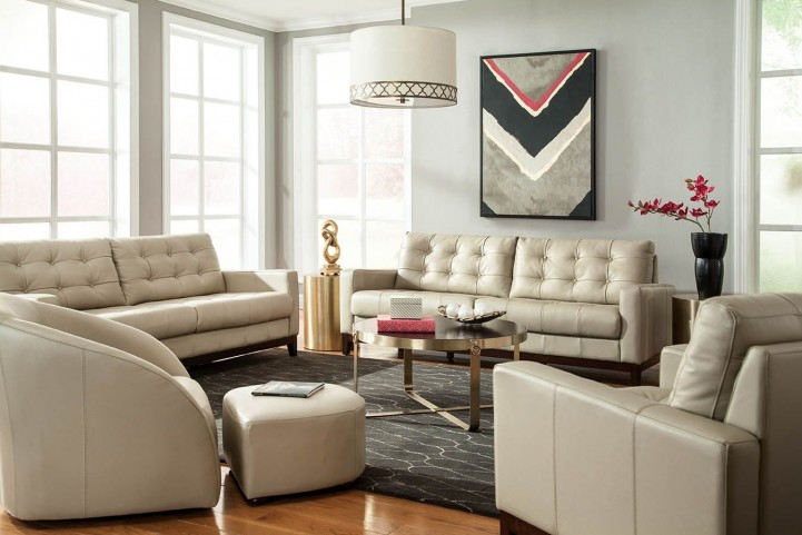Clayton Taupe Leather Living Room Set