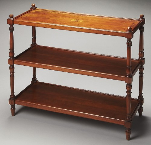 Masterpiece Rothwell Olive Ash Burl 3-Tier Console Table